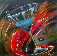 "JAMES WING ""SWIRL MARTINI"" Hand Signed Limited Edition Giclee on Canvas"