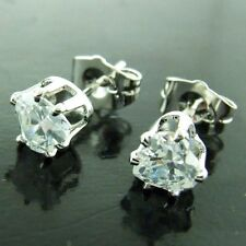 STUD EARRINGS DIAMOND SIMULATED GENUINE REAL 18K WHITE GOLD G/F LADIES DESIGN