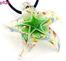 Handmade Chic Stylish star Starfish Lampwork Glass Pendant Necklace J529