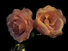 "Millinery Flower 2"" Rose Pair created of True Silk Cheery Pink For Hat Kw5 C"