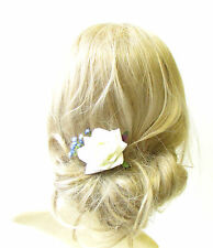 Blue Ivory White Rose Gypsophila Flower Hair Pin Bridal Bridesmaid Clip Vtg 1258