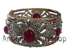 Ruby Wedding Party Wear Vintage Bracelet 9.88ct Antique Rose Cut Diamond Silver