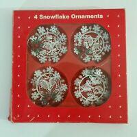 """Vintage Christmas 3"""" Tin White Snowflake Ornaments 1990 Set of 4 Bird Designs"""
