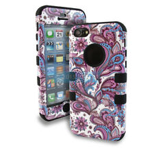 FOR APPLE IPHONE 5C PURPLE BLUE PAISLEY REINFORCED SHOCK PROOF TUFF CASE COVER
