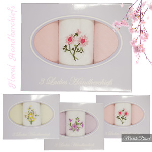 Ladies Handkerchiefs Cotton Hankies Floral Embroidered Boxed Gift Box 3 Pack
