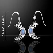 Crescent Moon .925 Sterling Silver Rainbow Moonstone Earrings by Peter Stone