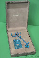 Lalique Necklace Blue Crystal Pendant on Cord w Box