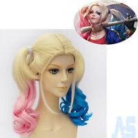 Batman Suicide Squad Harley Quinn Wig Pink Blue Gradient Hair Halloween Cosplay