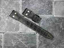 22mm Genuine Alligator Skin Leather Rivet Strap Black Band IWC BIG PILOT Beige X