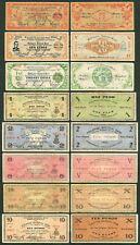 8 pcs 1942-1944 US Philippines WW2 ILOILO Emergency Notes 1, 2, 5, 10 20 Pesos