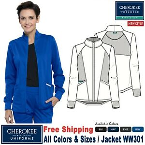 Cherokee Scrubs REVOLUTION Women's New Fashion Snap Front Warm Up Jacket WW301