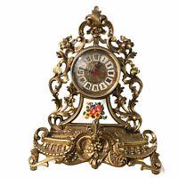 Vintage MOD DEP Italy Gold Rococo Baroque Floral Working Mantle Clock 16 x 13.5