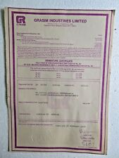 Vtg Share Certificate sign Grasim Industries Limited