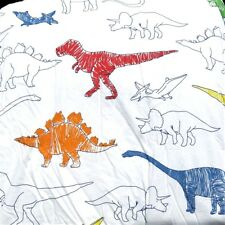 DINOSAURS 7pc TWIN COMFORTER  ~ DINOSAUR PREHISTORIC RED BLUE GREEN T-REX NEW