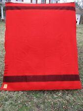 "87"" x 72"" Vintage Hudson's Bay England Red & Black Wool Blanket"