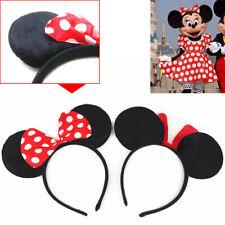 UK MINNIE MOUSE EARS HEADBAND Fancy Dress Disney Spotted Bow Ladies Kids Girls