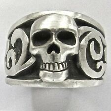 MJG STERLING SILVER SKULL & SCROLL RING. HARLEY. BIKER. GUITAR PLAYER. SZ 10