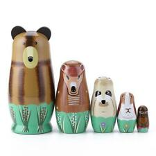 1 Set Color Painted Girl Wood Russian Nesting Matryoshka Dolls Toys Gifts JF#E