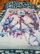 Purple Blue Butterfly Peace Sign Blanket Cottage Quilt 93×100 queen size