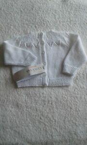 Hand knitted Newborn baby cardigan White 3 ply