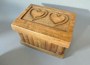 Handmade Wooden Puzzle Box, Magic Trick Case, Hand-engraved Hearts Motif, Gift