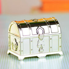 12x Plastic Wedding Favor Treasure Chest Jewelry Candy Faux Locked Box Gold