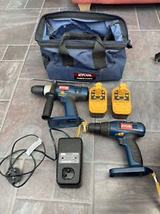 Ryobi 18 Volt Battery Drills (3) Plus Charger , Batteries  (4) And Bag