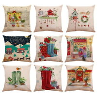 Xmas Pillow Case Christmas Pattern Square Flax Polyester Cushion Cover Hoom Deco
