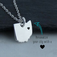 Personalized Ohio State Necklace -Heart Engraved Near City- 925 Sterling Silver