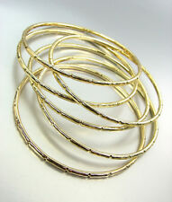 CHIC 6 PC Gold Metal Bamboo Texture PLUS SIZE Bangle Bracelets