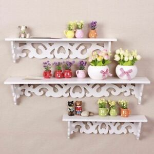 3 Pcs White Wooden Wall Mounted Shelf Display Chic Floating Storage Shelves Unit
