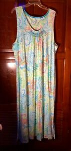 Chaps By Ralph Lauren Womans Loungewear Long Dress, XXL, Sleeveless Floral Print