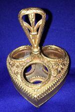 Vintage FLORENZA Heart Shaped Gold Gilded Lipstick Holder w Handle  for 3 Tubes