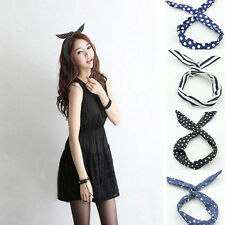 Fashion Lovely Wire Bunny Rabbit Ear Ribbon Hairband  Fabric Head Band 4 Colors