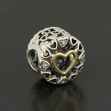Authentic Genuine Silver Circle of Love Heart 925 Charm