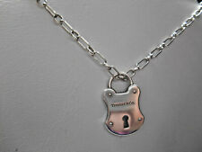 Tiffany &. Large Silver Padlock Arc Lock Pendant w Rectangle Chain Necklace