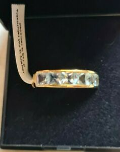 Sterling Silver Yellow Gold overlay 2 carat Aquamarine half eternity band size O