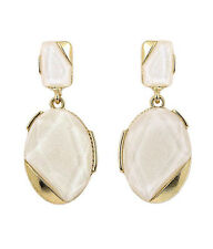 EARRINGS Pearl Coated Epoxy Stone Oval Cream Pierced Earrings