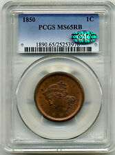 1850 LARGE CENT N-7 PCGS MS65 RB CAC