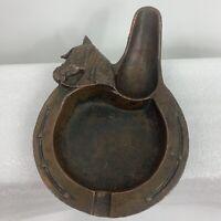 VTG Metal Pipe Ashtray Holder Coppertone Horse Head Horseshoe Cigarette Rest