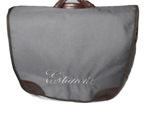 Chill-N-Go Cellar Briefcase Cotton Leather Four Bottle Wine Bag Estancia Logo