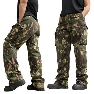 Combat Trousers 12 14 Green Brown Camo Army Pants W34 L33 Casual Used Clean