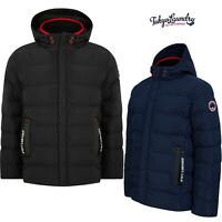 Men's Tokyo Laundry Black & Blue Quilted Padded Puffer Jacket Hooded Bubble Coat