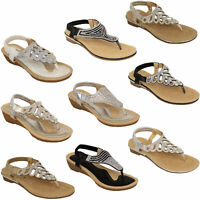 Ladies Sandals Kelsi Womens Diamante Slip On Toe Post Shoes Casual Fashion New