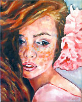 Redhead Girl Female Women Portrait Face Summer Flowers Oil Fine Art Painting