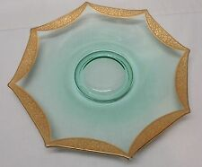Serving Plate Dessert Plate Green Depression Glass with Gold Trim Vintage