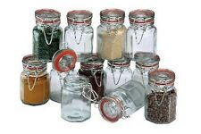 Set of 12 Clear Glass Clipseal Spice Herbs Jars Airtight Storage Racks Pots