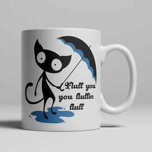 Black Cat mug Funny Fluff You Fluffin Fluff Cheeky Rude Umbrella And Puddle