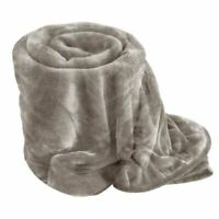 Silver Cuddly Soft MINK FAUX FUR BLANKET Bed,Sofa Throw King Size (200x240)