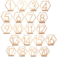 20 Sets Wooden Hexagon 1-20 21-40Table Numbers for Wedding Party Decoration